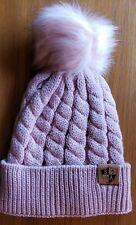 ROSE FUR POM BEANIE Winter Hat Snow Ski Cap