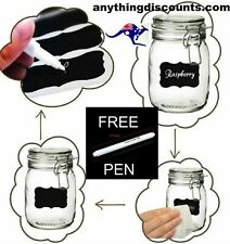 120 Labels & 1 White chalk Pen.  Blackboard Chalk sticker Labels Jars pantry V