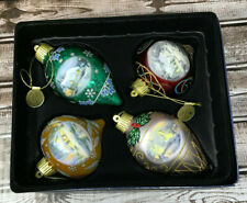 "Thomas Kinkade ""Sparkle Of Winter"" Luminary 4 Pack Ornaments New Free Shipping"