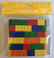 Invitations Building Block Brick Paper Party Birthday Celebration Gatefold