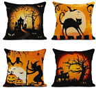 4 Linen Throw Pillow Cover Halloween Cat Decorative Cases Home Square 18x18