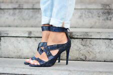 ZARA BLUE SNAKE ANIMAL PRINT LEATHER HEELS STRAPPY SANDALS SHOES REF 5455/301.