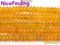 """Natural Yellow Agate Rondelle Spacer Stone Beads For Jewelry Making Gemstone 15"""""""