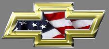 Chevy Bowtie Emblem, Vinyl Sticker, Gold & Chrome Trim with USA flag, Chevrolet