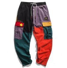 Men Corduroy Patchwork Pockets Cargo Pants 2018 Harem Joggers Harajuku Sweatpant