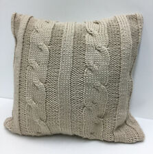 "Chunky Knit Sweater 20""x20"" Throw Pillow In Natural Waterfowl Feathers Filled"