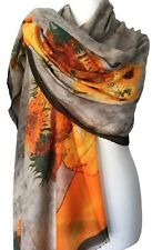 Sunflower Scarf Orange Yellow Light Brown Wrap Ladies Floral Pashmina Shawl New