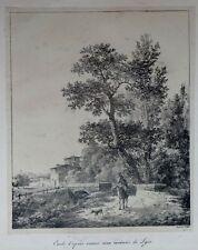 """Lithographie d'après VILLAIN , Ecole lyonnaise XIXème , """"Environs de Lyon"""""""