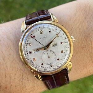 Gold Vintage Movado Triple Date Calendar Watch 18K 750 Rubins working perfectly