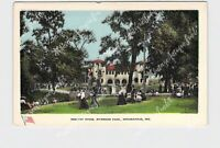 PPC POSTCARD INDIANA INDIANAPOLIS SHELTER HOUSE RIVERSIDE PARK FAMILIES ON THE G