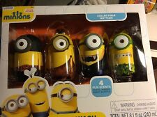 MINIONS COLLECTABLE BOTTLES BODY WASH COSTUME HALLOWEE MOVIE EXCLUSIVE NEW SET 4