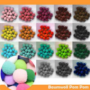 PomPons Baumwoll Kugeln zum nähen Basteln Klein u. Groß Bommel Stoff Set Kinder