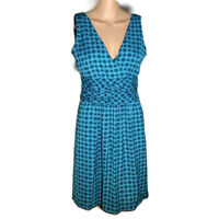 Banana Republic Womens Dress Fit and Flare A Line V Neck Sleeveless Blue Size 0
