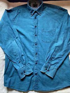 OLYMP Men's Casual Blue Long Sleeve Shirt Size M