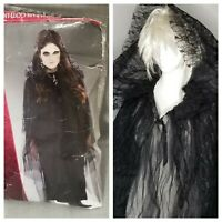 "Gothic Romance Lace Hooded Cape Vampire Halloween Costume Cosplay 54"" Long Black"