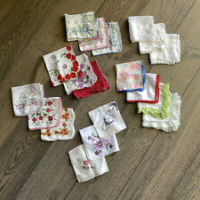 Hanky Lot 19 Embroidered Floral Crochet Lace Handkerchiefs Vintage Mrs Maisel
