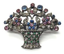 Vintage 835 Silver Brooch Pin Bouquet Rhinestone Flower Basket