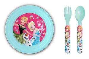 Disney Frozen 3D Plate with Spoon and Fork Set