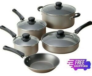 9 Piece Non-Stick Cookware Set Pots & Pans Home Kitchen Cooking, Champagne