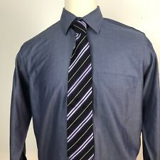 Jos. A.Bank Mens L Blue Button Front L/S Purple Stripe Burberry London Silk Tie