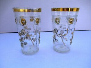 """Antique Islamic Glass Tumblers Gilt Moon Star Embossed Clear glass Art Deco 2P"""""""