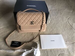 CHANEL Nude Caviar Quilted Flap Chain Long Strap Medium Size Bag