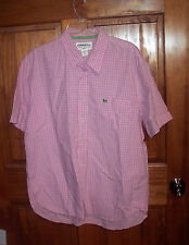 Men's XL Slim Fit Aeropostale Shirt Pink Plaid Button Down Short Sleeve GUC
