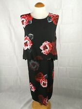 Ladies Dress Size 18 BM Black Red Chiffon Party Evening Overlay Detail