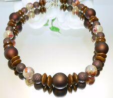 KETTE PERLEN Acral Braun Glas mamoriert Metall bronze Rondelle natur  464h