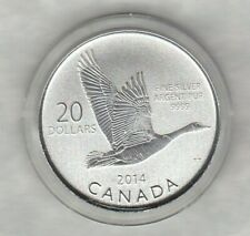 2014 CANADA GOOSE SILVER $20 COIN NEAR MINT WITH CAPSULE & CERTIFICATE.