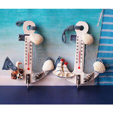 Nice Anchor Seashell Net Indoor Thermometer Wall Home Decor Wooden Hook Pendant