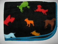 "Old Navy Black Multicolor Puppy Dog Print Blanket Teal Edge 2006 37x40"" Baby"