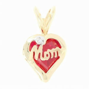 """""""Mom"""" Heart Pendant - 10k Yellow Gold Synthetic Ruby & Diamond Accent"""