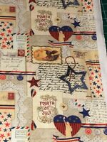 Patriotic Thoughts 100% cotton fabric by the yard 36 x 44 69630A looks postcards