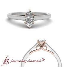 Two Tone 1/2 Carat Marquise Cut Diamond Bow Pattern Cathedral Engagement Ring