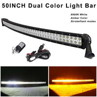 """50"""" inch Amber/White/Strobeflash Curved Led Light Bar Wireless Remote & Wiring"""