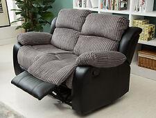 New Luxury California 2 Seat Jumbo Cord/Faux Leather Recliner Sofa Grey/Black