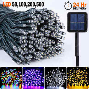 50 100 200 500 LED Solar String Lights Outdoor Garden Party Wedding Fairy light