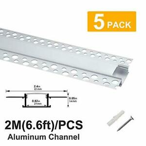 Hunhun 5-Pack 6.6ft/2Meter Plaster-in, trimless recessed LED Aluminum Channel wi
