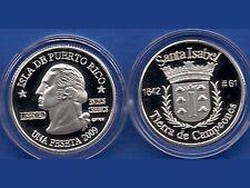 Silver PESETA SANTA ISABEL  2009 Puerto Rico Boricua Quarter 1/100 Plata