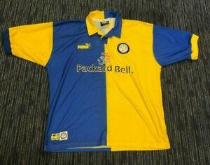 Puma Leeds United Away Shirt Mens XL LUFC Packard Bell Rose Logo Yellow Blue