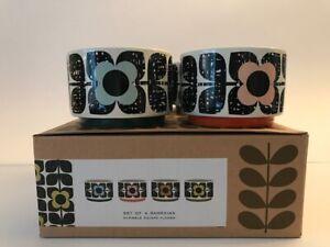 Orla Kiely Set of 4 'Scribble Square Flower' Ceramic Ramekins - Brand New