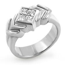 0.80 Ct Princess Diamond Invisible Set Wedding Ring G VS2 Men's 14k Gold White