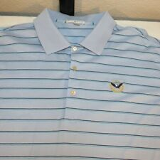 PETER MILLAR COUTRY GOLF CLUB POLO SHIRT Sz Mens XXL Blue w Back & Blue Stripe
