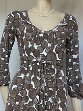 Jerseykleid Boden 36 34 Uk 8R Punkte retro Muster braun weiß Jersey