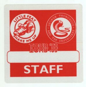 Little Feat & George Thorogood 92 Shake Me Up Tour Red STAFF Backstage Pass!