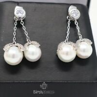 1Ct Cubic Zirconia With Pearl Dangle Earring Women Jewelry 14K White Gold Plated
