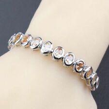 925 Sterling Silver Oval Shaped Garnet Sapphire Emerald etc Tennis Bracelet
