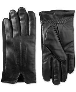 Isotoner Men's Winter Gloves Black Size Large L Stretch Solid Leather $80 #308