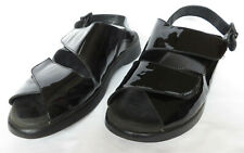 WOLKY Womens Black Patent Leather Adjustable Buckle Sandals Shoes 39 8 8.5